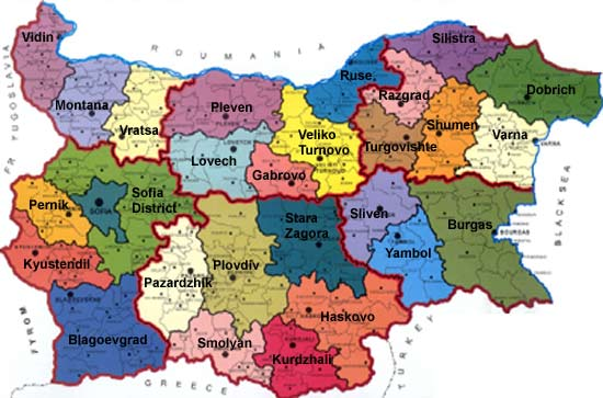 Bulgaria - District Map